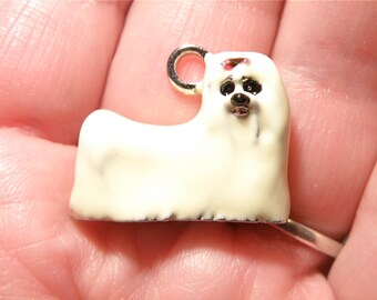 One (1) Silvertone and Handpainted Enamel Maltese Dog Charm --- LOT UU