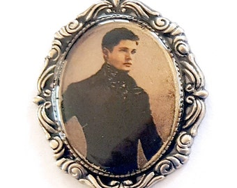 Victorian Steampunk Dean Winchester Faux Tintype Pendant