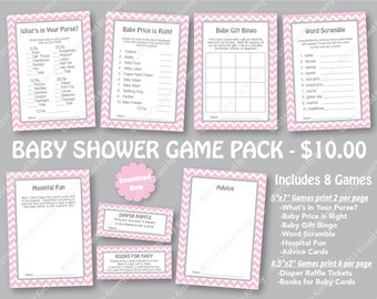 Pink Gray Baby Shower Game Pack - 70% OFF -PRINTABLE Girl Shower Games- 8 Pack -Chevron BabyShower -Diaper Raffle - Pastel Pink L Gray 20-22