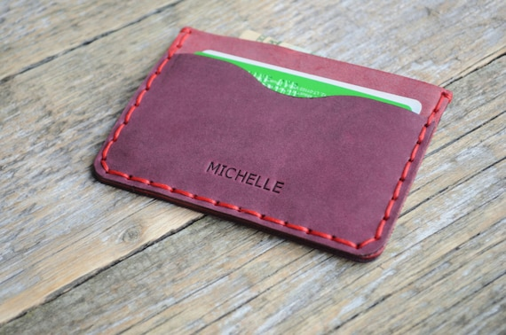 Pinkish Leather Wallet. PERSONALIZED Red Detail Inside Cover. Credit Card Cash and ID Holder. Simple Unisex Pouch.
