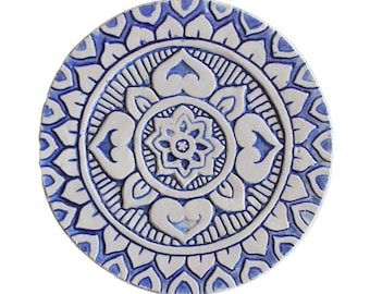 Ceramic art with Mandala design, Circle wall installation, ceramic tile wall hanging glazed in blue and white, 21cm