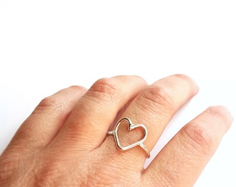 Open Heart Ring, Big Heart Ring, Rings for Girlfriend, Promise Ring for Her, Statement Ring, Thumb Ring, Dainty Ring, Minimalist Ring