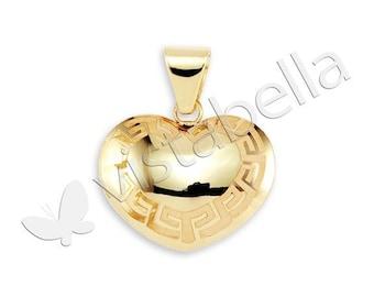 Gorgeous 14k Gold Bonded Greek Key Heart Pendant Charm