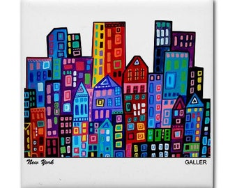 50% SALE- NYC art tile print on ceramic by Heather Galler New York City abstract city  folk Art