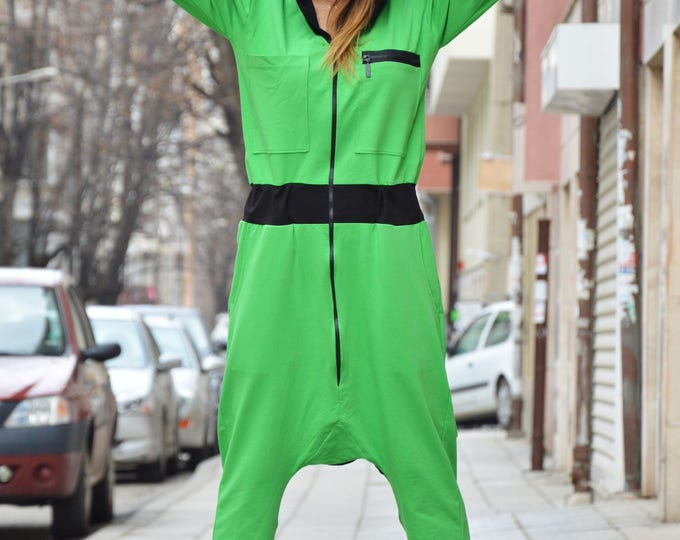 Jumpsuit, Cotton Extravagant Jumpsuit, Loose Jumpsuit for Women, Plus Size Jumpsuit, Hooded Drop Crotch, Low Bottom Jumpsuit by SSDfashion