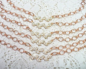Handmade ROSE Gold Rhinestone Leaf Bridesmaid Necklace - WEDDING Adjustable- Rose gold tone metal-leaf motif - Bridesmaid-Crystal ONE (1)