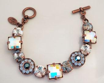 Swarovski Crystals Chunky Bracelet 10 mm 11 mm Multi Color