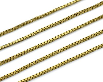 Link Square Chain, 20 M Cube Raw Brass Chain (1.8mm) Z070