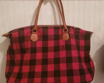 Red Buffalo Plaid Luggage Bag