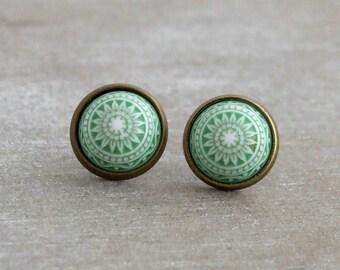 Green Mosaic Earrings  .. mosaic pattern studs, green studs, Moroccan earrings, small studs, green white post earrings
