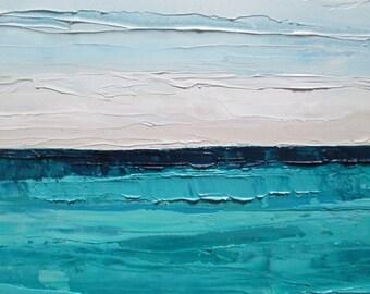 Ocean oil painting: beach painting, Teal Waters, original painting, abstract painting, teal blue, ocean painting