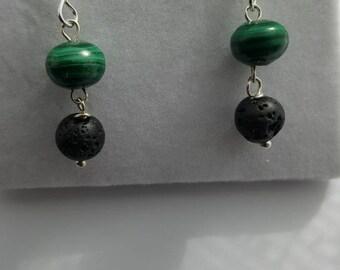 Malachite and Lava Rock drop earrings