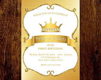 Prince Birthday Invitation, Princess Birthday Invitation, Gold Glitter Birthday Invitation, Little Prince Party, Little Princess Party