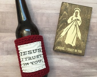 Beer cozy. Unique gifts for men. Religious gift ideas. Catholic gifts for men. Jesus I trust in you beer cozy. Divine Mercy bottle sleeve.