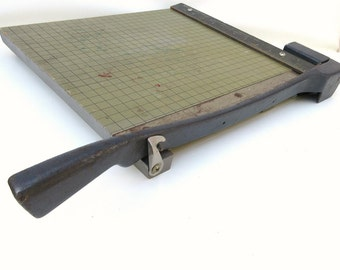 Antique Paper Cutter | Wood Cutting Board | Paper Trimmer | Industrial Office | Milton Bradley | Vintage Office | Madmen Office