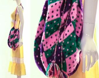 Ethnic Woven Purse Crossbody Handbag Bohemian Crochet Bag Hand Knit Brightly Colored South American Bag Gypset Boho Chic