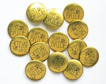 Gold Hen Do Badges -  Team Bride Badges / Hen Night Badges / Bridal Shower Badges / Bachelorette Badges