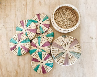 Woven Coasters in Canister.
