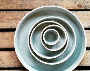 Wheelthrown ceramic bowls - blue - various sizes available - serving food, decoration