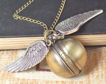 Pocket Watch Necklace Shell Bronze Pendant Harry Potter Golden Chain Your Life Only Have Y026