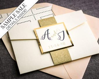 Wedding Invitation,  Glitter and Gold Foil Modern Pocketfold Invite, Blush and Navy Custom Luxury Set - Whimsical Calligraphy PF-1L SAMPLE