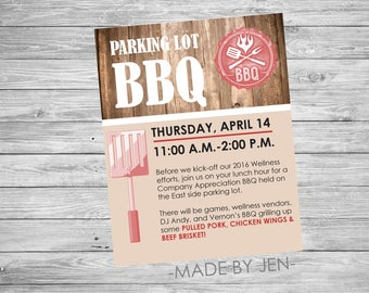 BBQ Party Invitation, Company Email Invitation 5x7 or CUSTOM