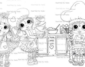INSTANT DOWMLOAD Digital Digi Stamps Big Eye Big Head Dolls Digi  My Besties Baked With Luv 2 By Sherri Baldy