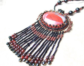 Red River Agate Bead Embroidered Cabochon Necklace (Reserved)