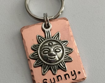 Dog Tag - Cat Tag -Pet ID Tag with Sun Charm - Unique Hand Stamped Dog Tag -