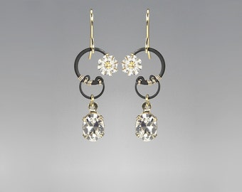 Swarovski Crystal Earrings, Clear Swarovski Crystals, Industrial Jewelry, Bridal Jewelry, Sparkly Earrings, Ganymede II v4
