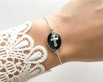 Stone and 925 sterling silver cross Bangle Bracelet