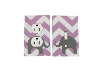 Chevron Elephant Nursery Decor -Light Switch Plate Cover - Girls Lilac Lavendar Purple White-Wall Decor