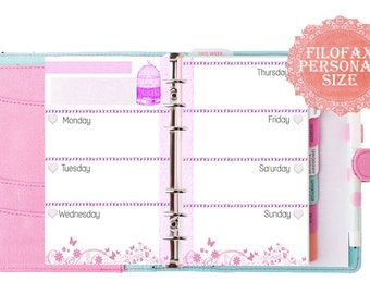 Filofax Personal size  printable week in 2 pages,pink themed, filofax inserts, inserts refill , planner pages, Instant Download!