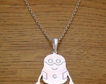 Amazing Marvelous Solid 925 Sterling Silver Charming Funny Design Minion Children Kids Necklace with Chain Minions Movie Stuart Kevin & Bob