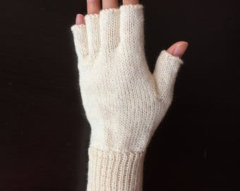 Half Mid Finger Gloves/Hand Warmers/Manicure/Driver/Bike/Bicycle Gloves (Soft White)