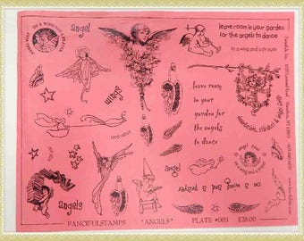 unmounted red rubber stamps agels wings sheet #3