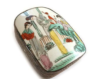Chinese Porcelain Shard Box Tibetian Silver - Asian Collectible - Large Porcelain Shard
