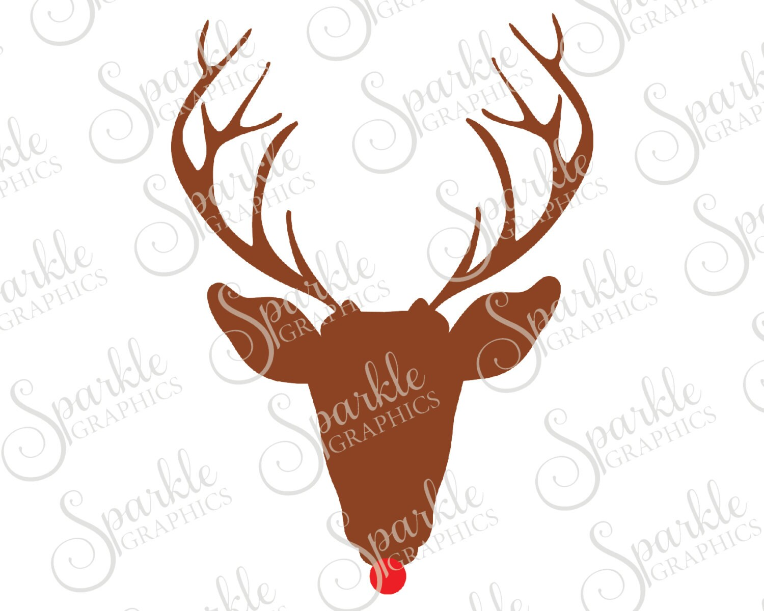 Rudolph SVG Christmas Deer Red Nose Reindeer Santa Xmas Clipart Svg Dxf Eps Png Silhouette Cricut Cut File Commercial Use
