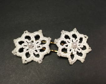 Crochet Star Flower Hairpin (set of 2) with Pearl Bead