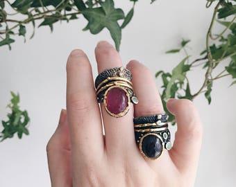One-of-a-Kind Pink Quartz/Black Quartz Sterling Silver Ring | Size 5 | Healing Ring