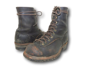 Vintage 40's CHIPPEWA Black Leather Lace Up Outdoor Work Logger Boots Sz 9