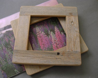 Barnwood FRAME (5x5) handmade from reclaimed weathered wood - rustic refined