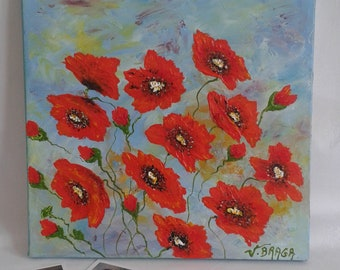 Painting poppies acrylic painting on canvas, flowers, wall decor, mixed-method, floral painting, gift for her