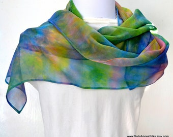 Silk Scarf, Chiffon Scarf, Hand dyed Scarf, 58 x 9.5inches, Made in Australia, Ready to Ship, Gift for her, SallyAnnesSilks  S191