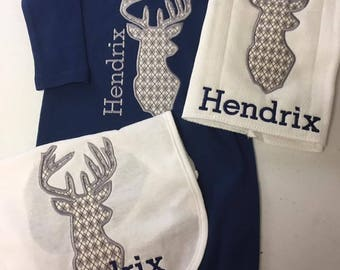 Personalized Deer set for baby- Gown, burb cloth & bib