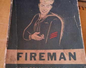 Vintage Post WWII US Navy Fireman Training Courses Book. NAVPERS 10520. 1949 Edition. Used.
