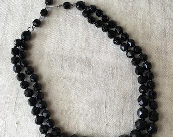 Vintage 2 Strand Choker, Black Glass Choker, Japan, Graduated Glass Bead, Necklace, PK136