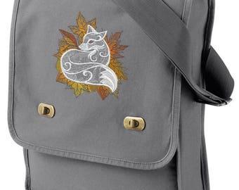 Autumn Vixen Fox Embroidered Canvas Field Bag