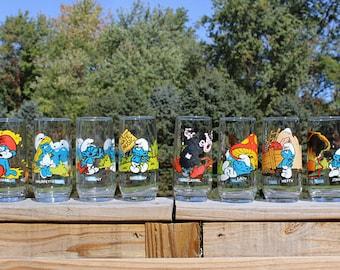1982 Smurf Glass Set of 8 by Peyo