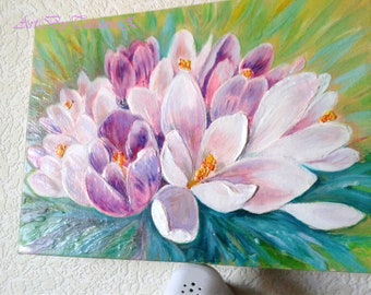 Spring Crocuses Flowers Original Relief Oil Painting Art Artwork Lilac Wall Decor Artgift Oils on Stretched Canvas
